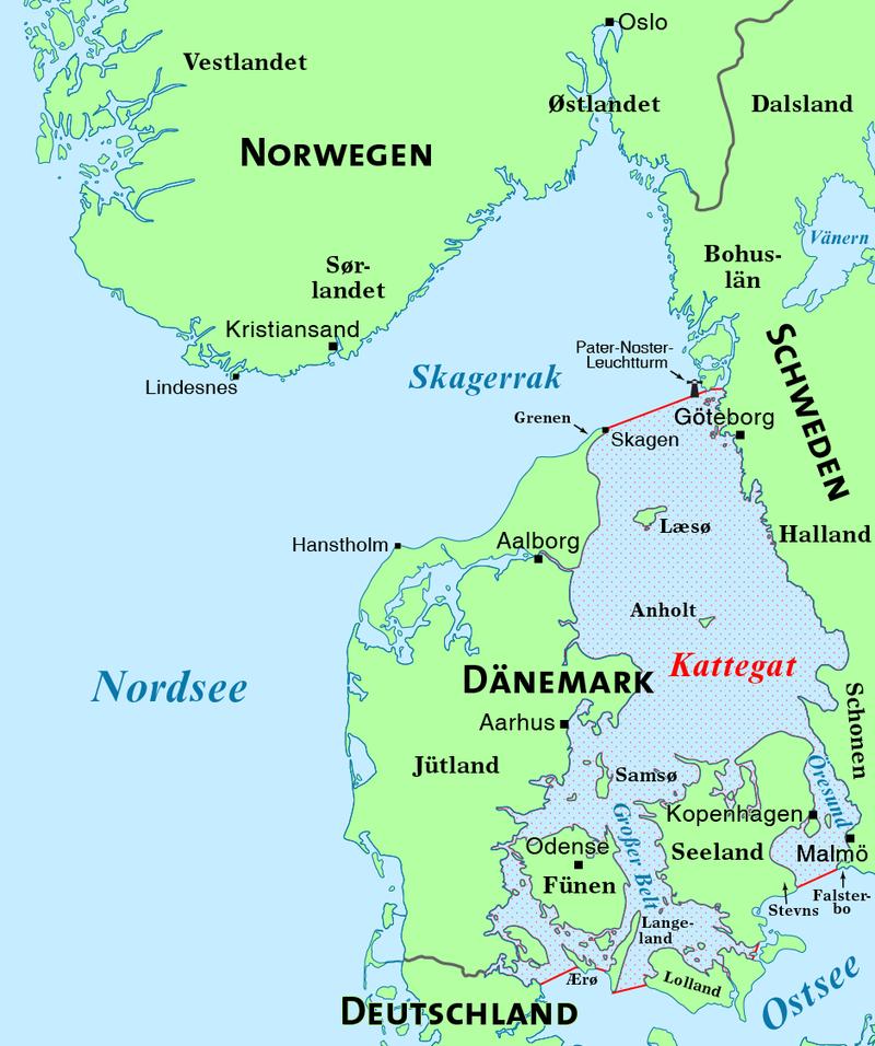 Karte Skagerrak und Kattegat