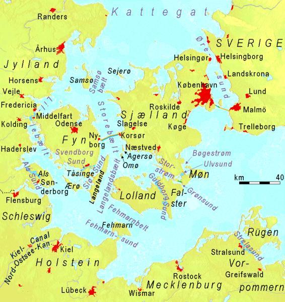 """Karte der """"Belts"""" und """"Sunde"""" in Dänemark und der südwestlichen Ostsee // """"Belts"""" and """"Sounds"""" in Denmark and southwestern Baltic Sea"""