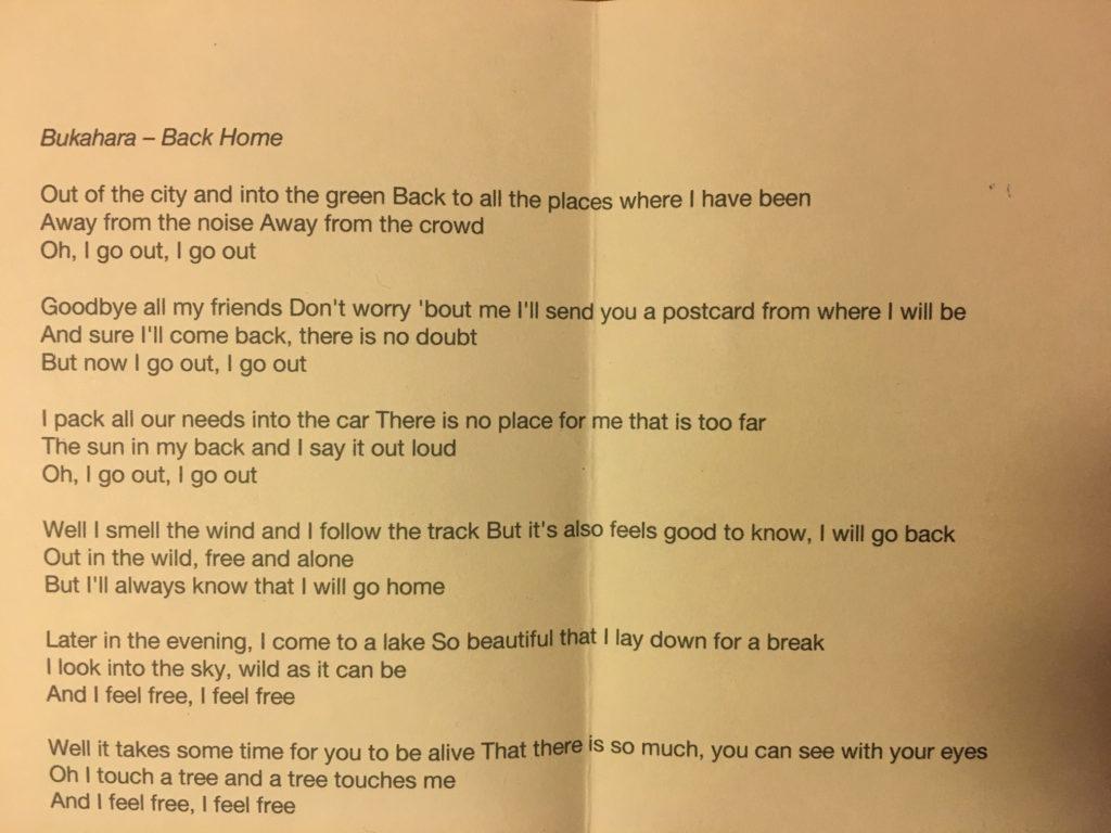 "Liedtext ""Back Home"" Teil 1"