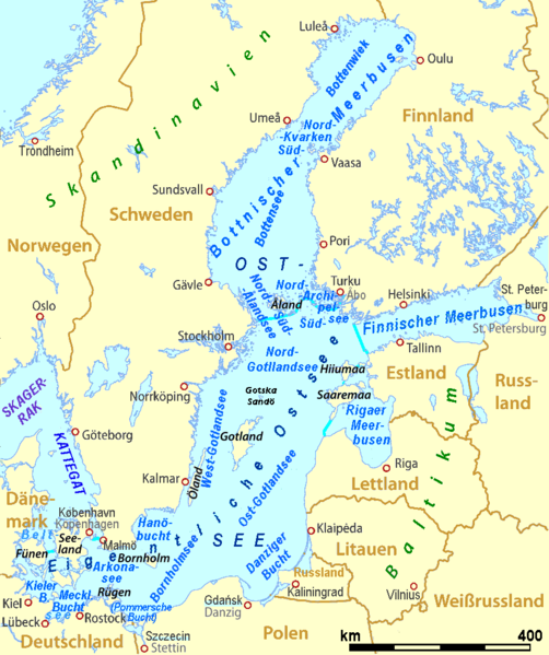 Offizielle Einteilung der Ostsee