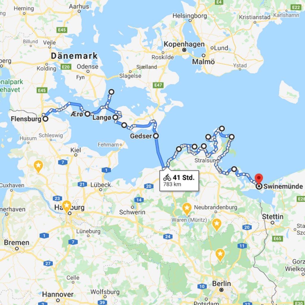Karte mit Route Süddänemark-Fähre-DE