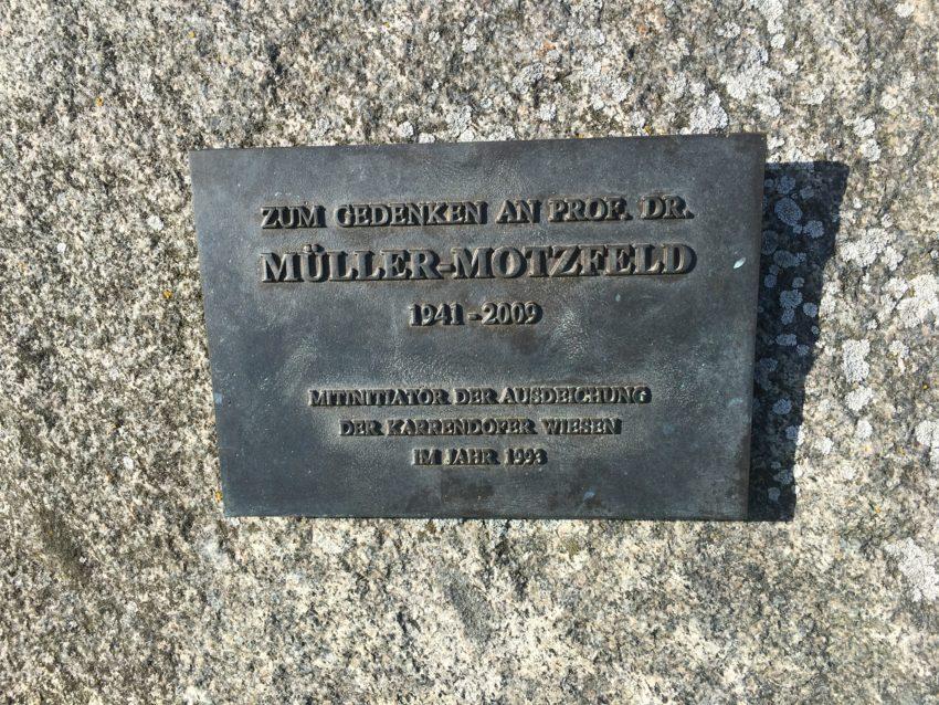 """Stein-Inschrift """"Zum Gedenken an Prof. Dr. Müller-Motzfeld"""""""